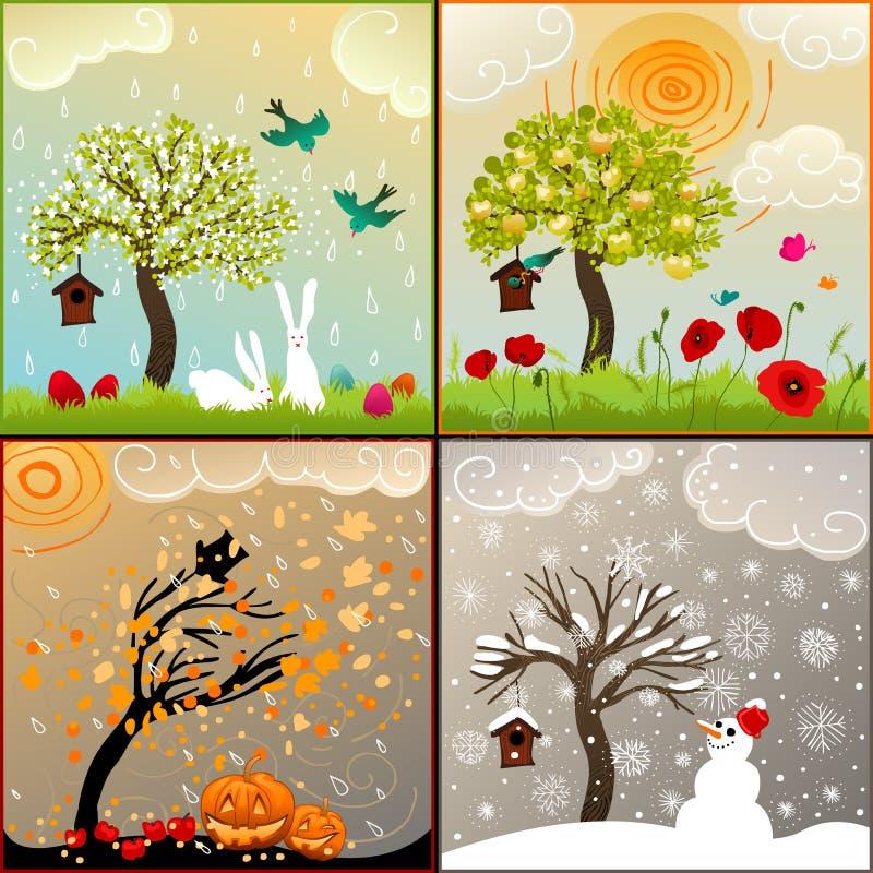 Quatro ilustrações temáticos das estações ajustaram-se com árvore de maçã, aviário e arredores ilustração do vetor