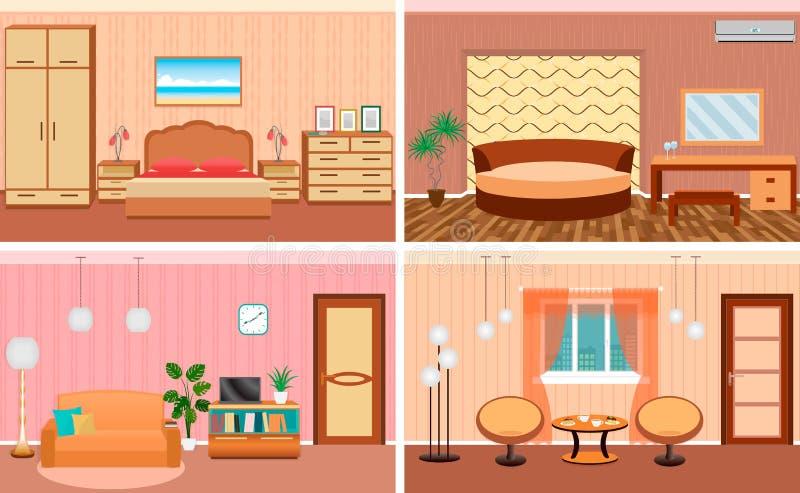 Quatro interiores da sala de visitas em um grupo Projeto do quarto e do salão com mobília Inteiramente editable ilustração do vetor