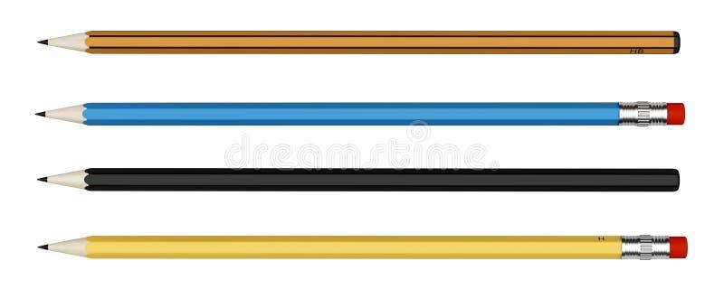 Quatro lápis isolados no branco ilustração stock