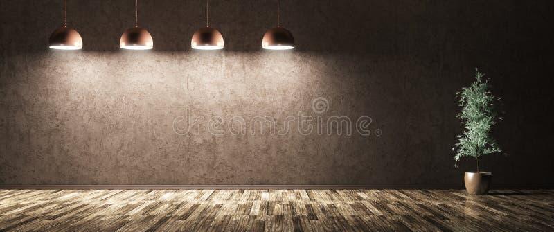 Quatro lâmpadas e plantas sobre a rendição azul do muro de cimento 3d ilustração royalty free