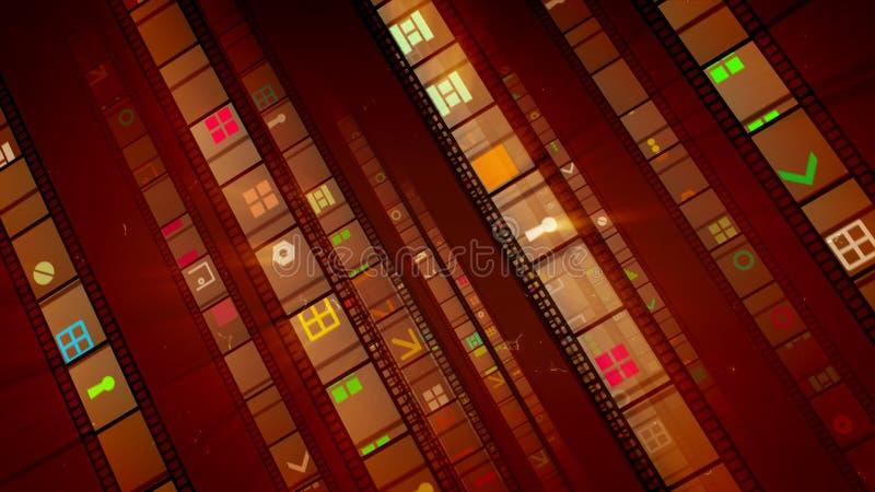 Quatro linhas marrons de fitas do filme do vintage ilustração do vetor