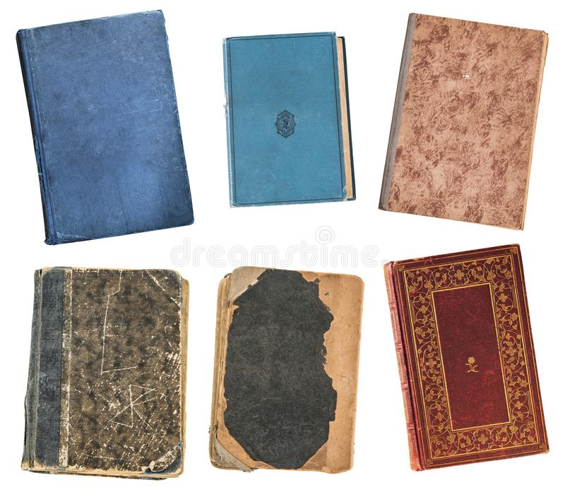 Quatro livros velhos do vintage isolados no fundo branco Biblioteca velha fotos de stock
