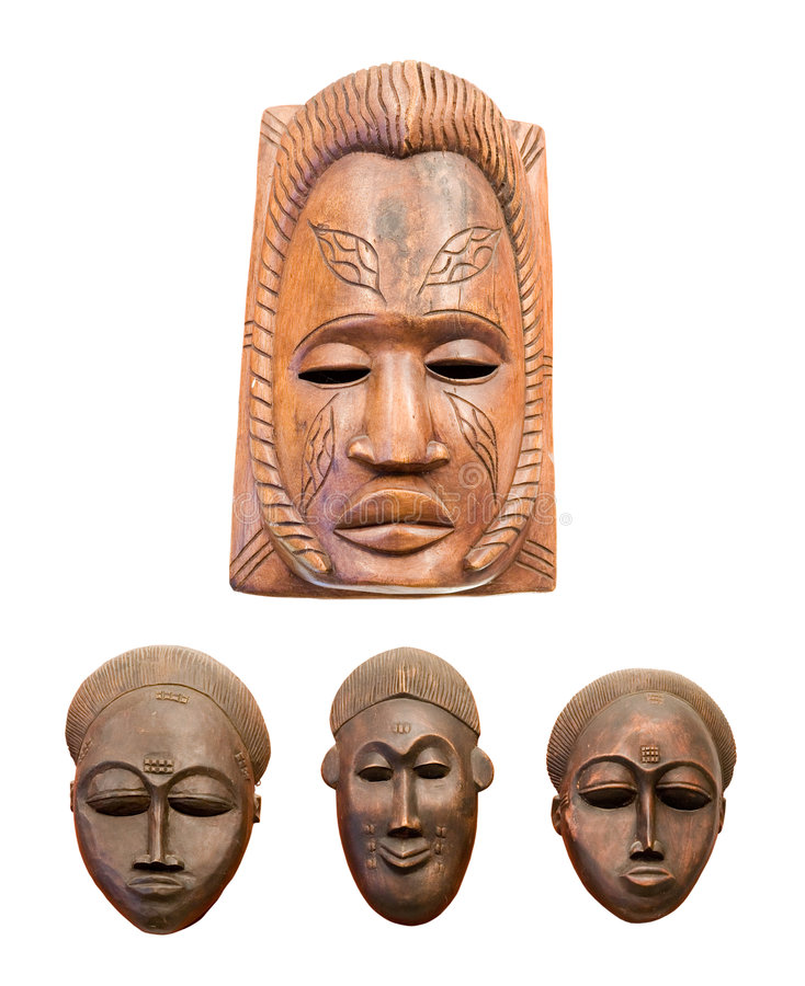 Quatro máscaras africanas fotografia de stock