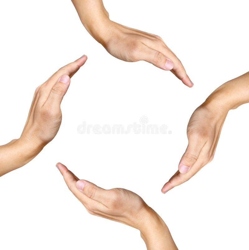 Quatro mãos humanas que fazem uma forma quadrada no branco imagem de stock royalty free