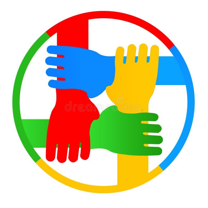 Quatro mãos junto ilustração do vetor