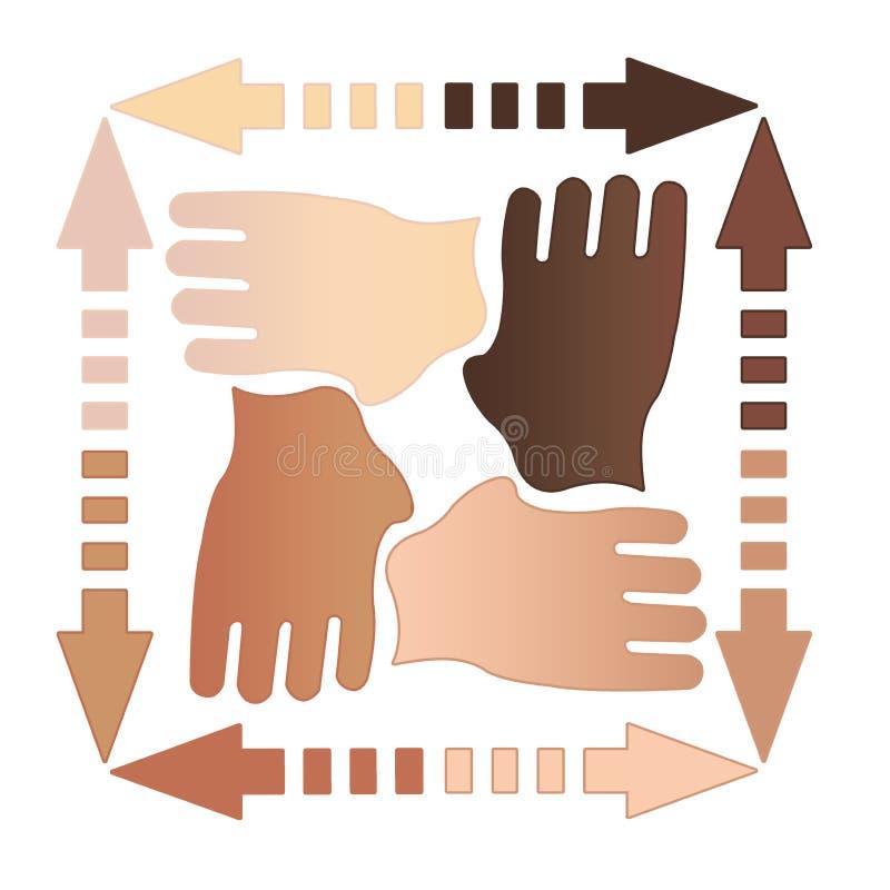 Quatro mãos junto ilustração royalty free