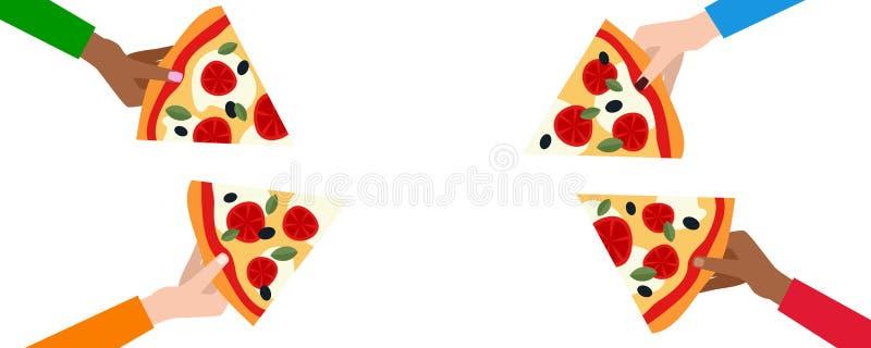 Quatro mãos que guardam fatias de pizza ilustração do vetor