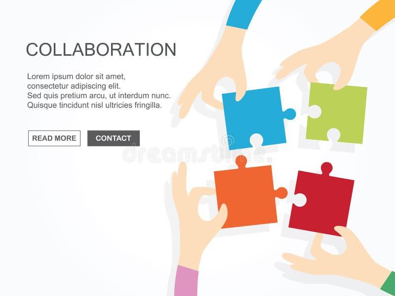 Quatro mãos que mantêm o enigma unido Trabalhos de equipe, parceria, negócio, conceito da cooperação ilustração royalty free