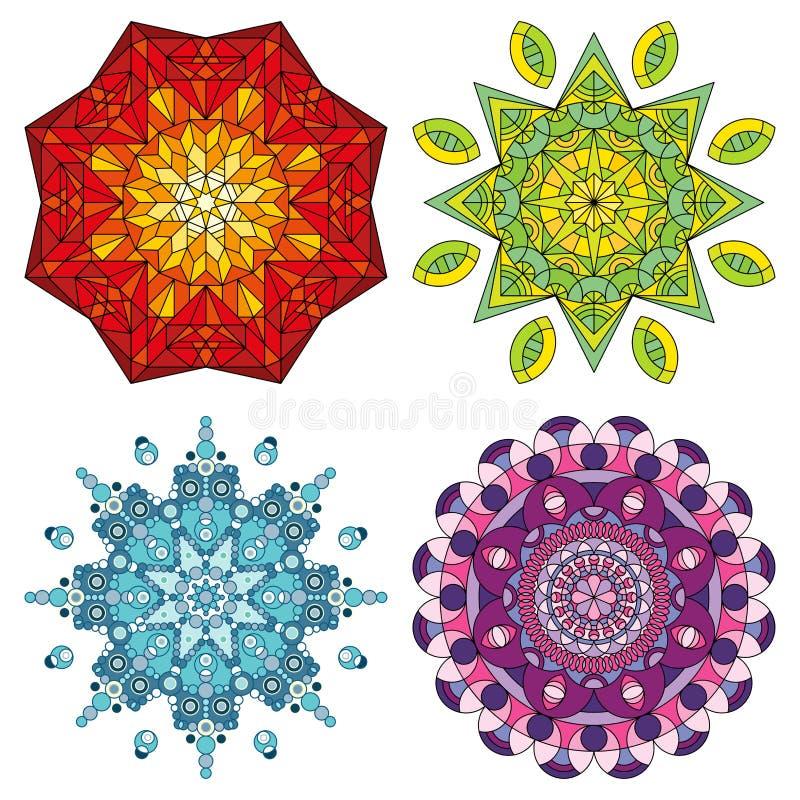 Quatro mandalas coloridas ilustração royalty free