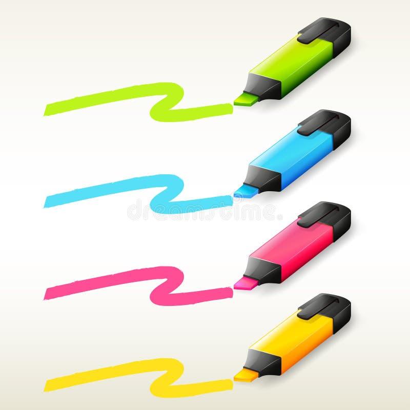 Quatro marcadores em cores diferentes ilustração stock