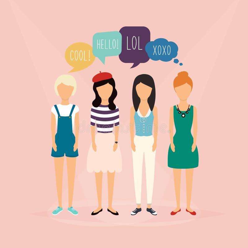 Quatro meninas comunicam-se Bolhas do discurso com palavras sociais dos meios ilustração do vetor