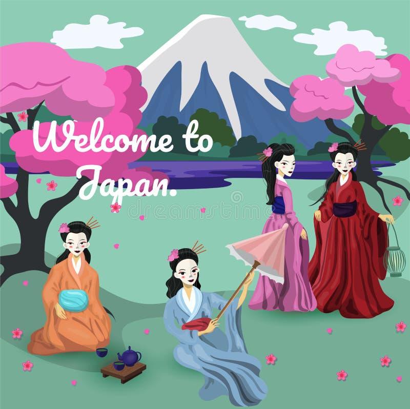 Quatro meninas japonesas na imagem nacional do vetor dos trajes ilustração do vetor