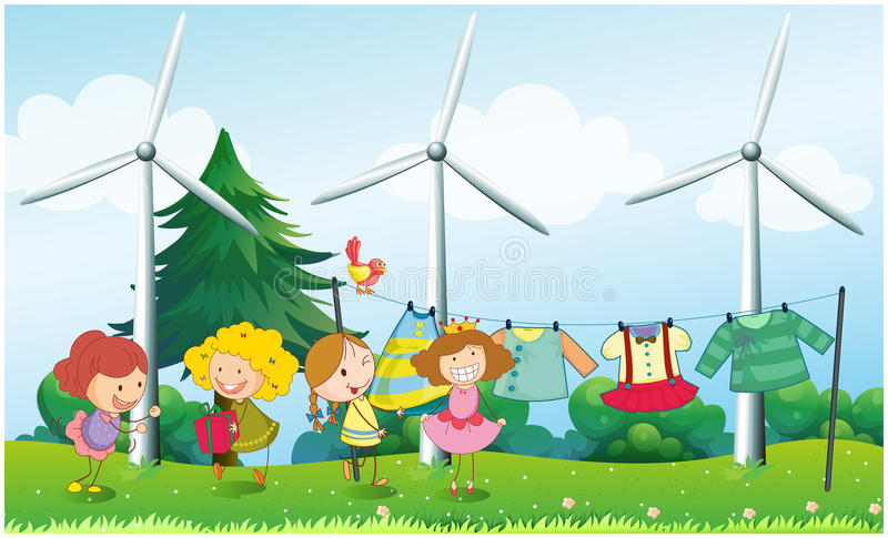 Quatro meninas perto da roupa de suspensão ilustração stock