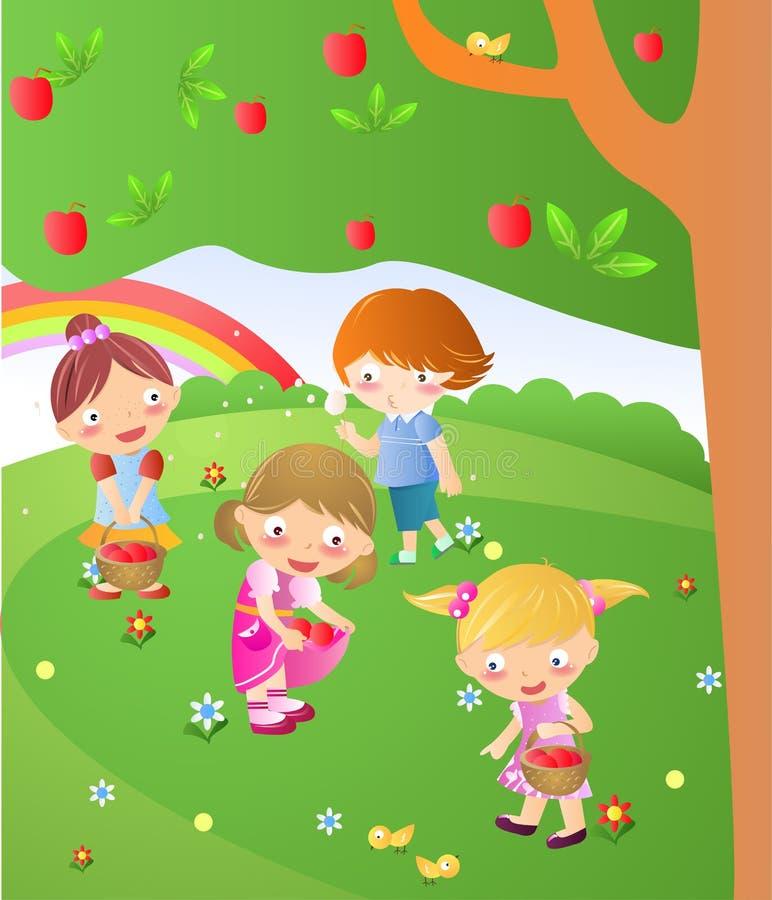 Quatro miúdos ilustração royalty free