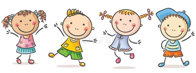 Quatro miúdos felizes ilustração do vetor