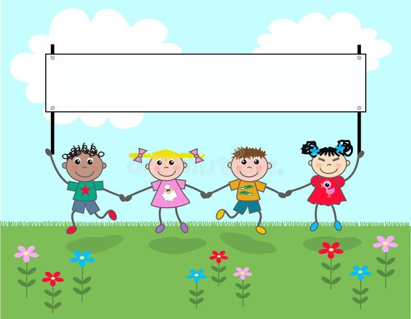 Quatro miúdos que prendem uma bandeira ilustração stock