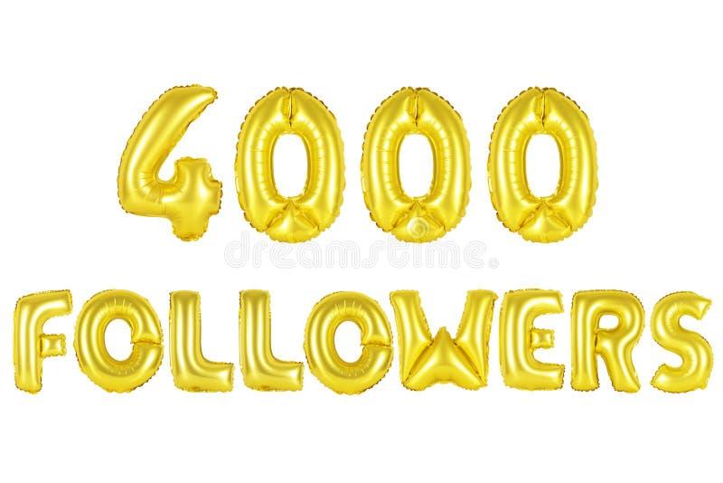 Quatro mil seguidores, cor do ouro foto de stock royalty free