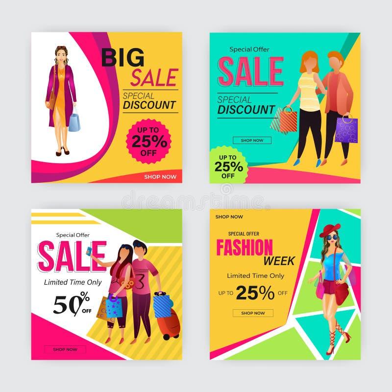 Quatro molde ou projeto de anúncio do cartaz com ofertas diferentes do desconto ilustração royalty free