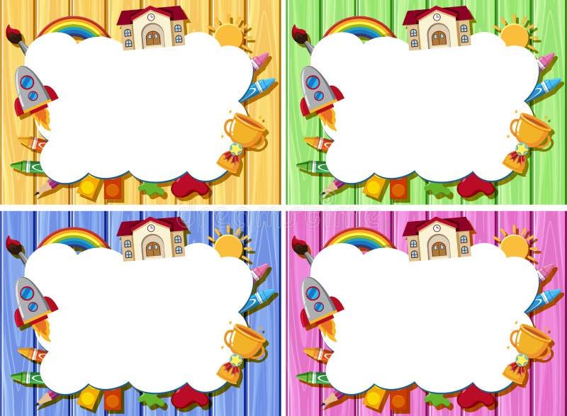 Quatro moldes da beira com cor diferente de placas de madeira ilustração do vetor