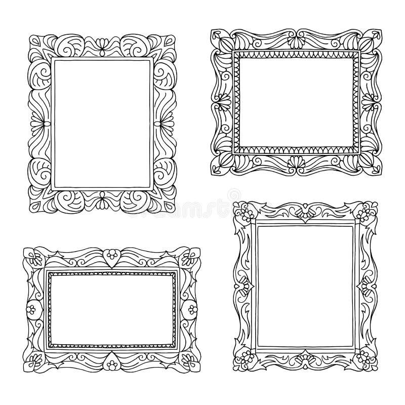 Quatro molduras para retrato tiradas mão ilustração royalty free