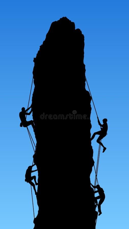 Quatro montanhistas de rocha ilustração royalty free