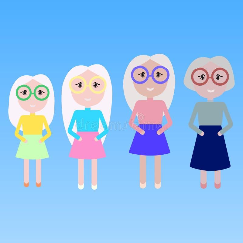 Quatro mulheres avó, filha da mãe e neta ilustração stock