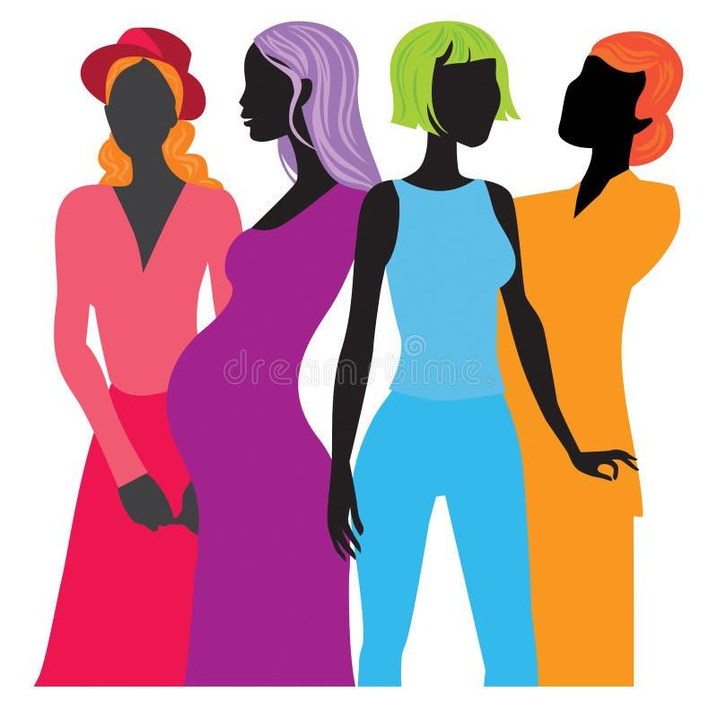 Quatro mulheres negras ilustração royalty free