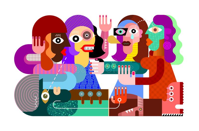 Quatro mulheres vivas e uma ilustração inoperante do vetor do homem ilustração do vetor