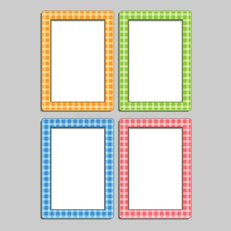 Quatro multi-coloriram quadros da foto das crianças na caixa, azul, ora ilustração stock