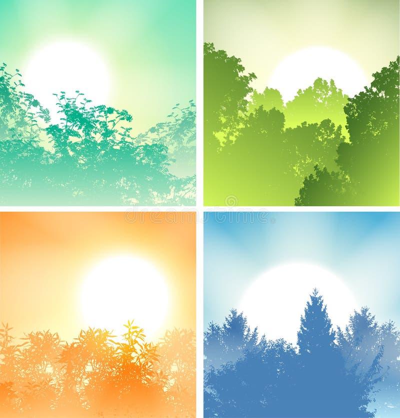 Download Quatro Nasceres Do Sol Acima Das árvores Ilustração do Vetor - Ilustração de floresta, manhã: 29833169