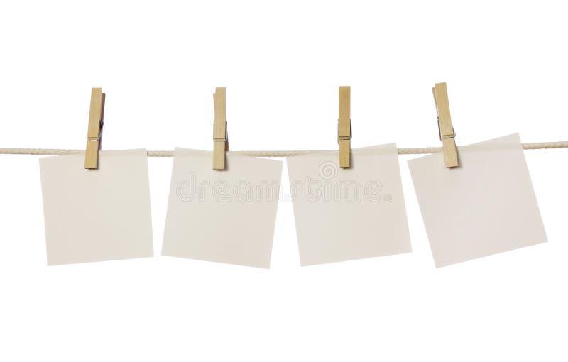 Quatro notas em branco brancas imagens de stock royalty free