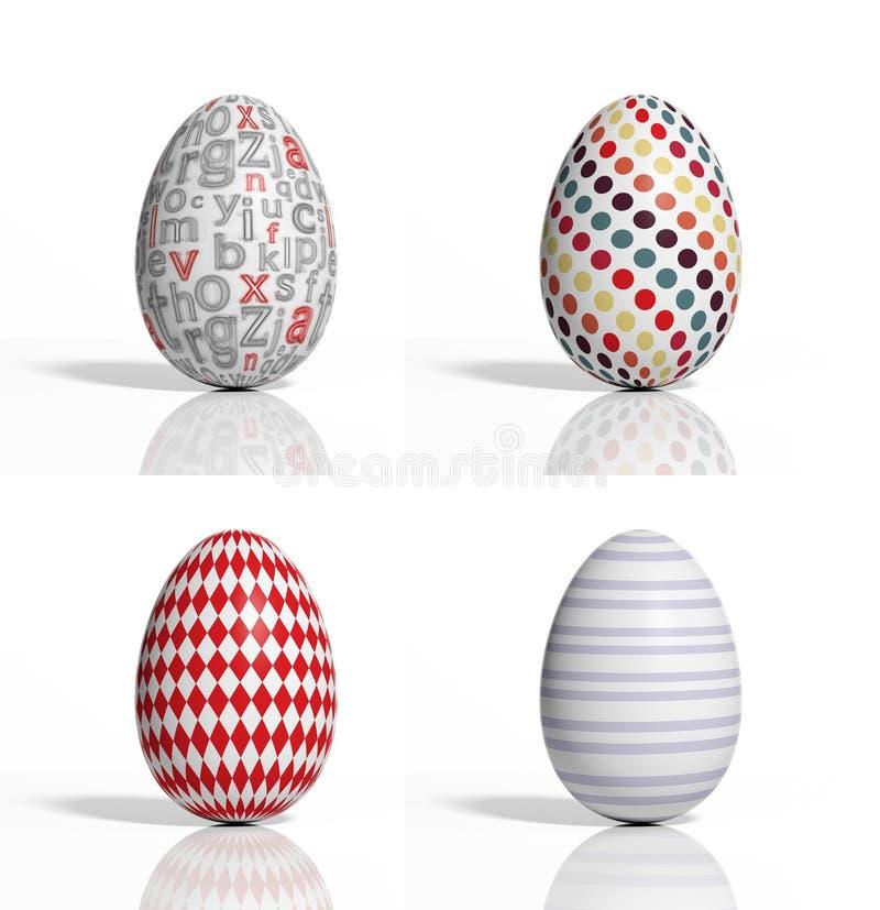Quatro ovos coloridos easter ilustração stock