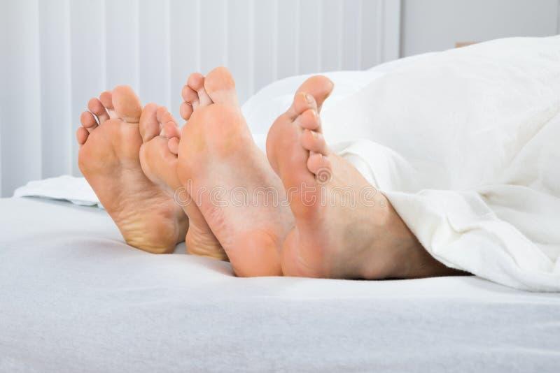 Quatro pés na cama fotografia de stock royalty free