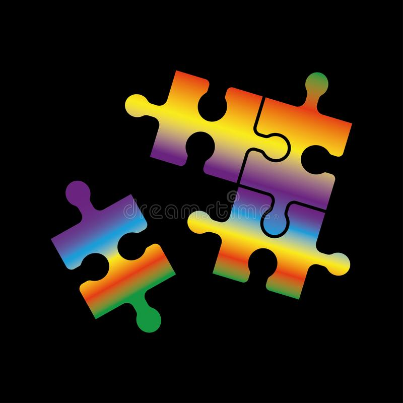 Quatro partes confundem, multi-colorido, ilustração, isolada ilustração do vetor