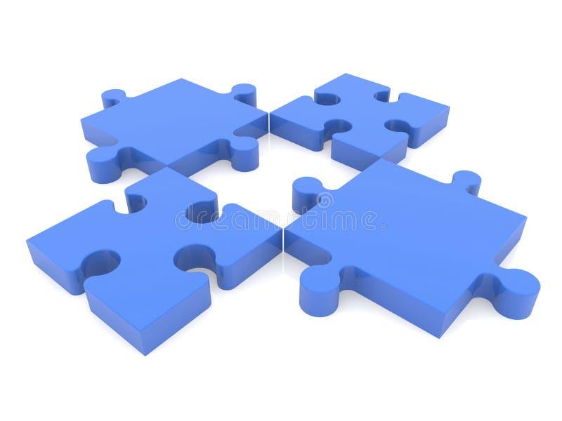 Quatro partes de enigma no azul no branco ilustração do vetor