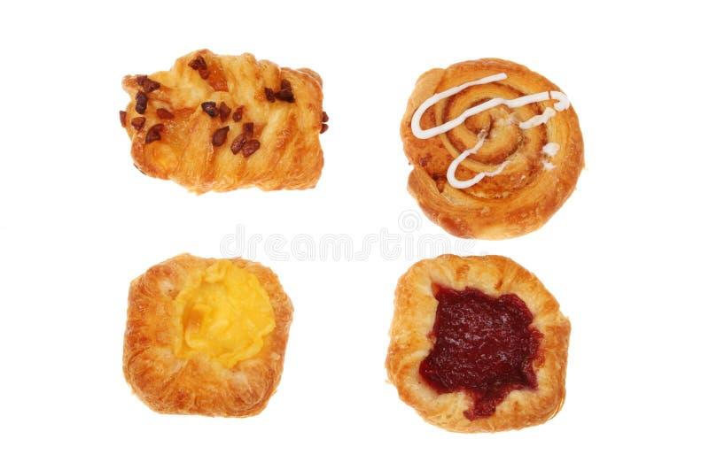 Quatro pastelarias dinamarquesas fotos de stock royalty free