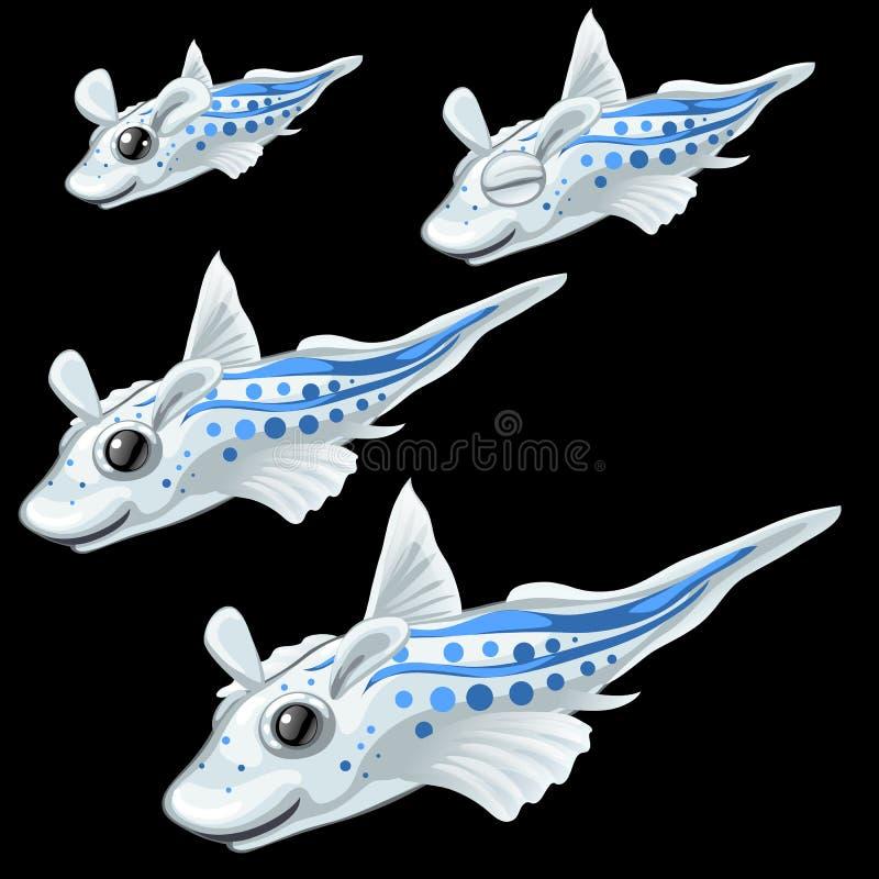 Quatro peixes brancos tropicais em um fundo preto ilustração royalty free