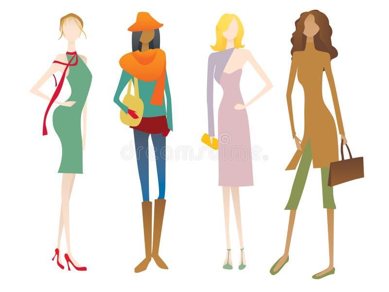 Quatro personages fêmeas ilustração do vetor