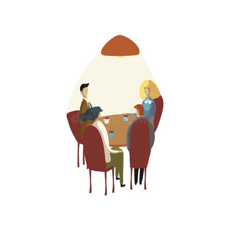 Quatro pessoas em uma mesa redonda em um café Ilustra??o do vetor no fundo branco ilustração stock