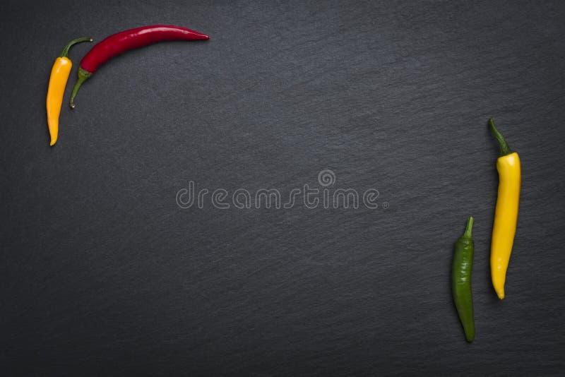 Quatro pimentas de pimentão na pedra da ardósia imagem de stock
