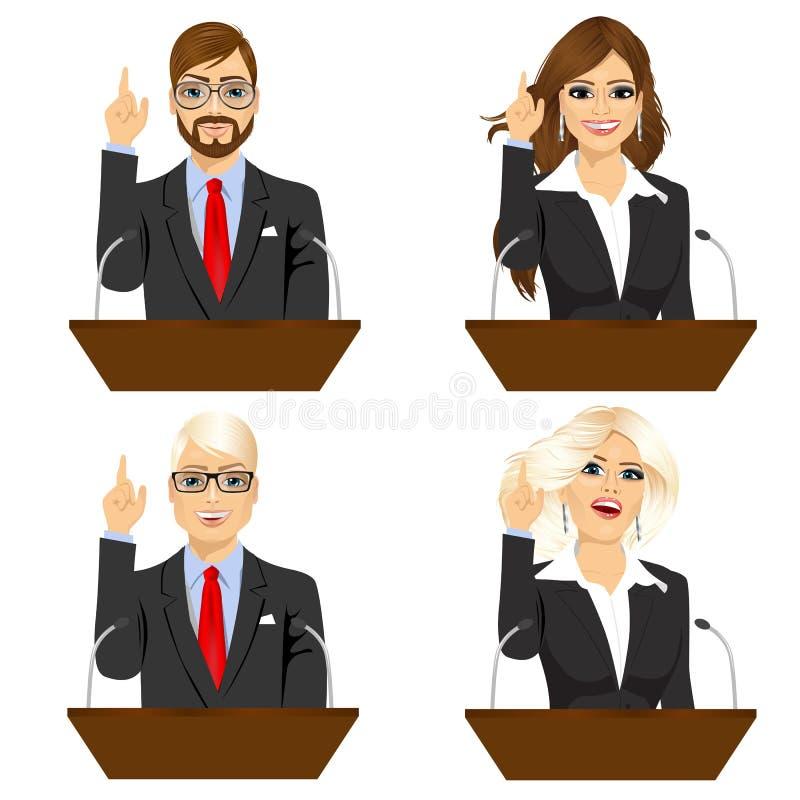 Quatro políticos diferentes que falam no microfone ilustração royalty free