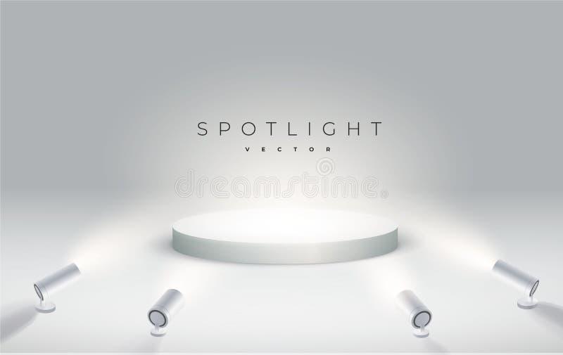 Quatro projetores brilham da parte inferior ao pódio Pódio, suporte ou plataforma redonda iluminados por projetores no branco ilustração stock