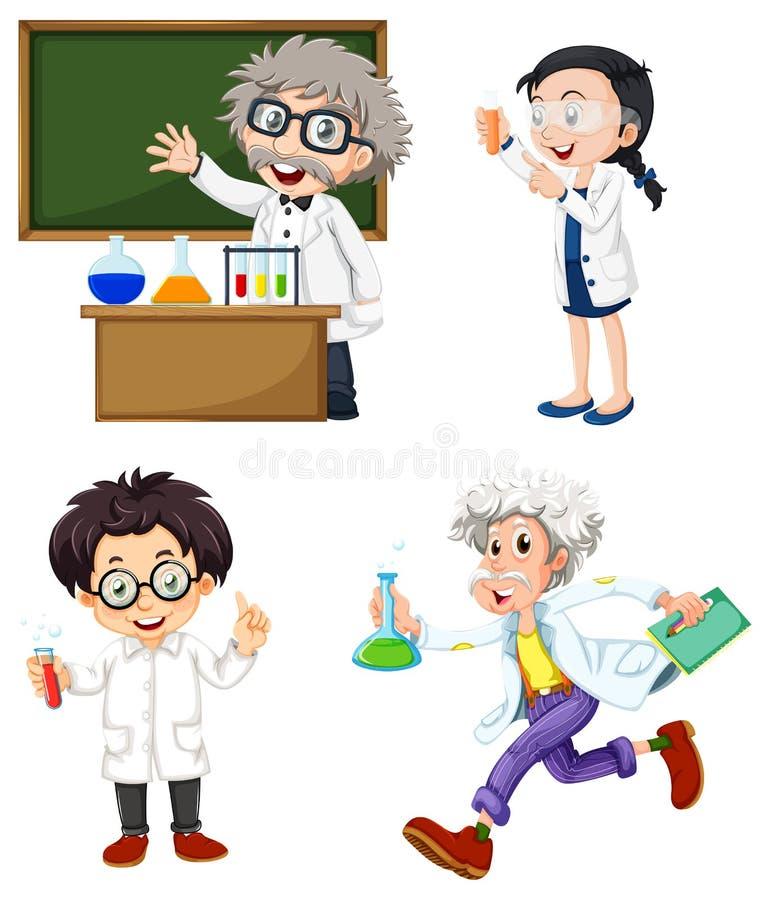 Quatro químicos ilustração royalty free