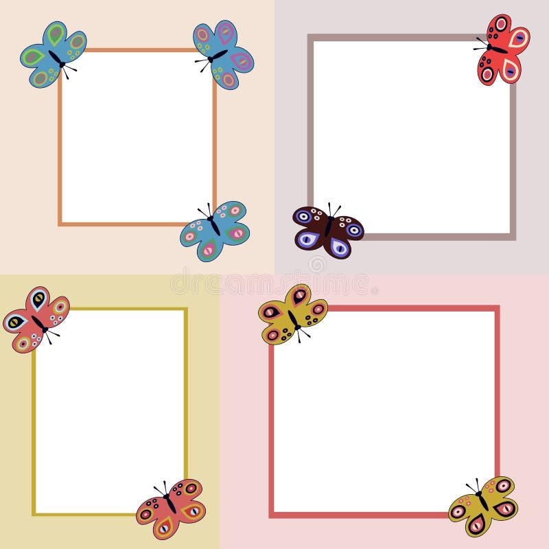 Quatro quadros claros simples com borboletas ilustração do vetor