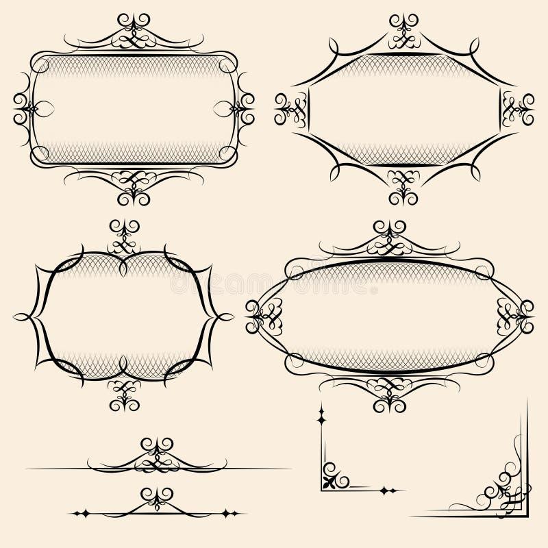 Quatro quadros elegantes do vintage do vetor ilustração royalty free