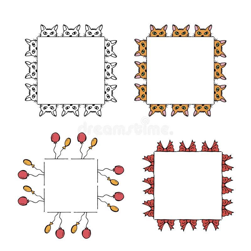 Quatro quadros quadrados com gatos, balões e curvas ilustração do vetor