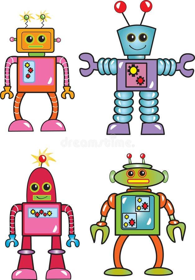 Quatro robôs ilustração stock