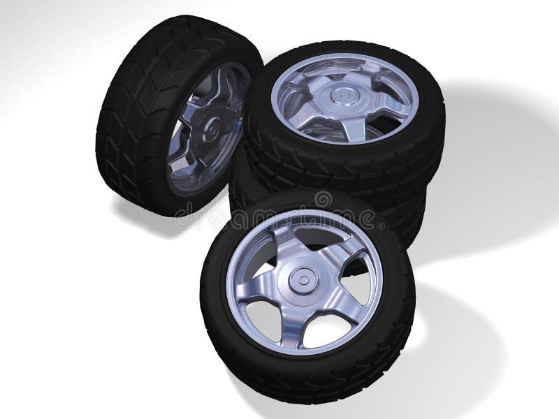 Quatro rodas grandes com pneumáticos ilustração royalty free