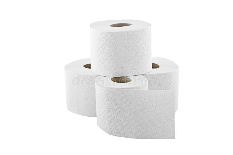 Quatro rolos do papel higiénico isolados no branco imagem de stock