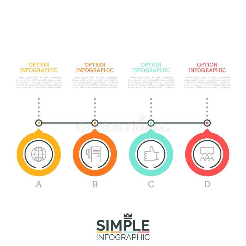 Quatro rotularam os elementos circulares conectados sucessivamente por caixas da linha e de texto 4 etapas do conceito do crescim ilustração do vetor
